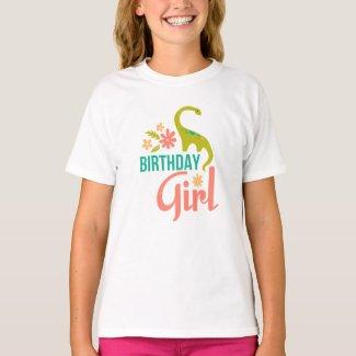 Floral Dinosaur Birthday Girl T-shirt