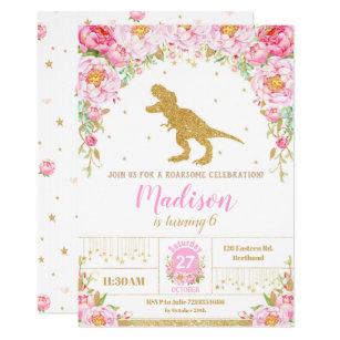 Floral Dinosaur Birthday Invitation Girl T Rex
