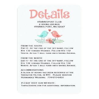 Floral Directions / Details Pink Lovebirds Wedding Card