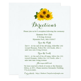 Floral Directions Details Yellow Sunflower - Green Card