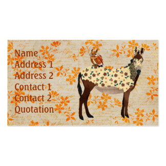 Floral Donkey & Owl Business Card