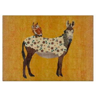 Floral Donkey & Owl Cutting Board