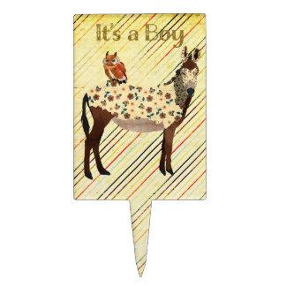 Floral Donkey & Owl It's a Boy Cake Topper