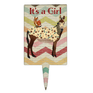 Floral Donkey & Owl It's a Girl Cake Topper