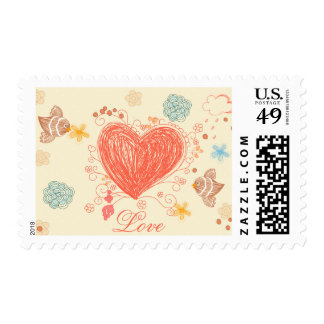 Floral doodle heart and birds love stamps