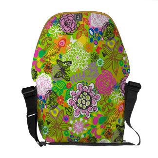 Floral Doodle Pattern Messenger Bag