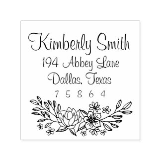 Floral Doodles Address Stamp