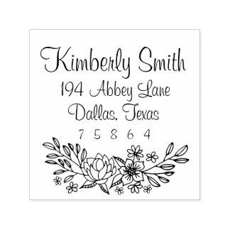 Floral Doodles Address Stamp