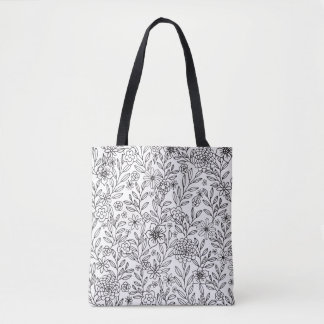 Floral Doodles Coloring Tote Bag