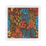 Floral doodles dark acrylic tray