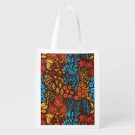 Floral doodles dark reusable grocery bag