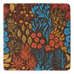 Floral doodles dark trivet