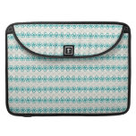 Floral Doodles in Turquoise and Gray Pattern MacBook Pro Sleeves