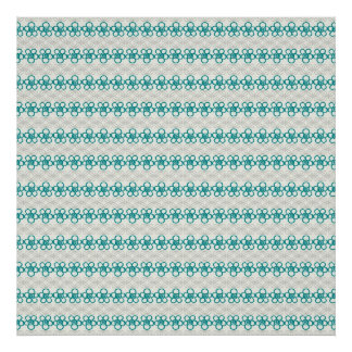 Floral Doodles in Turquoise and Gray Pattern Poster