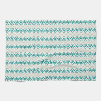 Floral Doodles in Turquoise and Gray Pattern Towels