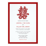Floral Double Happiness Chinese Wedding Invitation