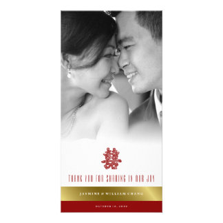 Floral Double Happiness Chinese Wedding Thank You Card