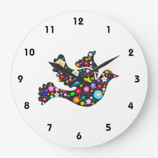 Floral Dove of flowers clock