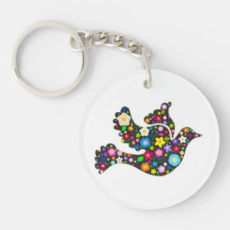 Floral Dove of flowers Keychain