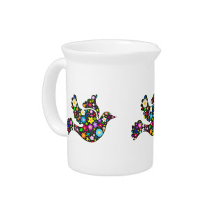 Floral Dove Of Flowers Pitchers at Zazzle