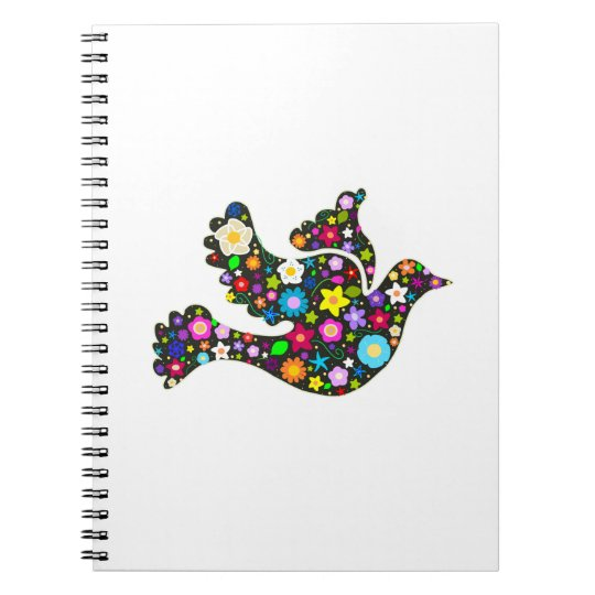 Floral Dove of flowers Spiral Notebook