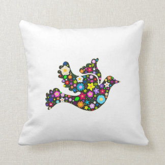 Floral Dove of flowers Throw Pillow