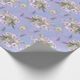 Floral Doves on Blue Vintage Wrapping Paper