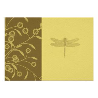 Floral Dragonfly Wedding Invitation