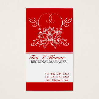 Floral Drawing White  Lotus Flower Business Card