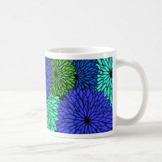 Floral Drawn Zinnia Flowers Coffee Mug