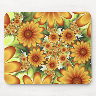 Floral Dream, Modern Abstract Flower Fractal Art Mouse Pad