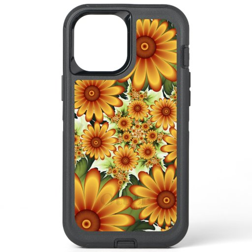 Floral Dream, Modern Abstract Flower Fractal Art OtterBox Defender iPhone 12 Pro Max Case