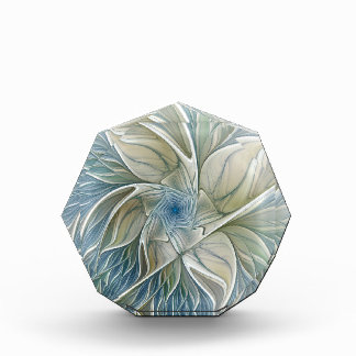 Floral Dream Pattern Abstract Blue Khaki Fractal Award
