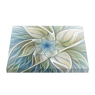 Floral Dream Pattern Abstract Blue Khaki Fractal Canvas Print