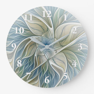 Floral Dream Pattern Abstract Blue Khaki Fractal Large Clock