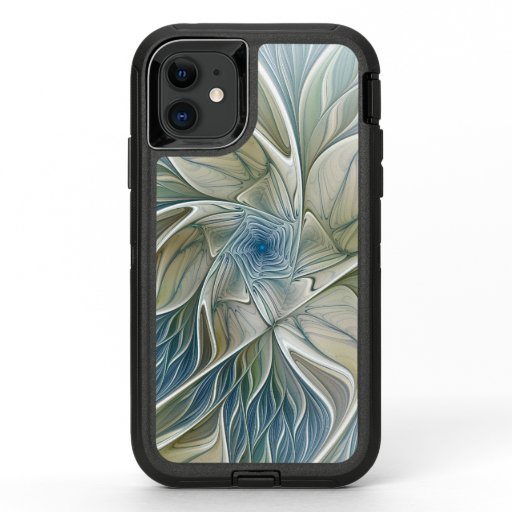 Floral Dream Pattern Abstract Blue Khaki Fractal OtterBox Defender iPhone 11 Case