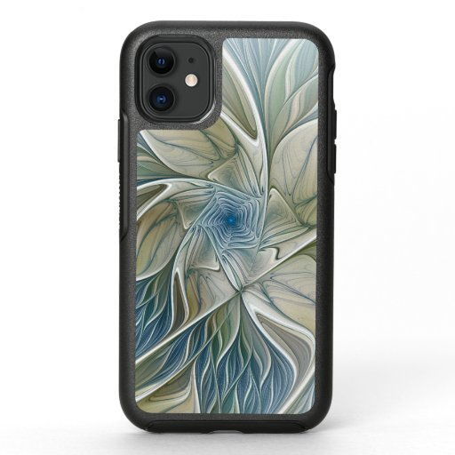 Floral Dream Pattern Abstract Blue Khaki Fractal OtterBox Symmetry iPhone 11 Case