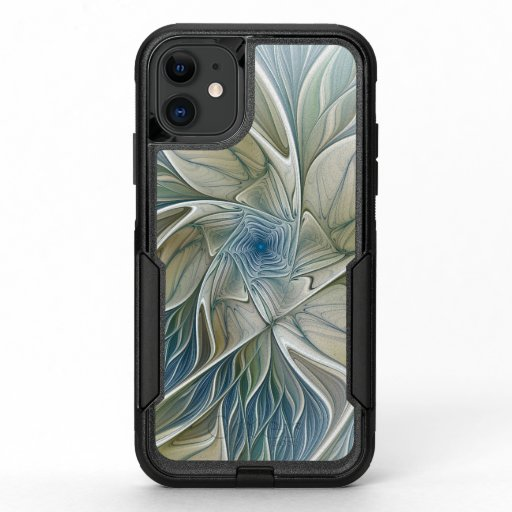 Floral Dream Pattern Abstract Blue Khaki Fractal OtterBox Commuter iPhone 11 Case
