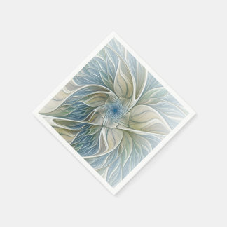 Floral Dream Pattern Abstract Blue Khaki Fractal Paper Napkin