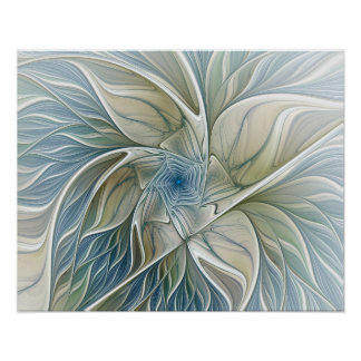 Floral Dream Pattern Abstract Blue Khaki Fractal Poster