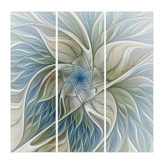 Floral Dream Pattern Abstract Blue Khaki Fractal Triptych