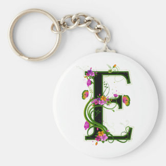 Floral E Keychains