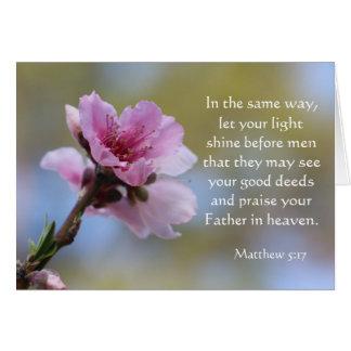 Floral Easter Card w Bible Verse (Matthew 5:17)