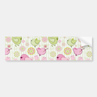 Floral Easter Chicks Bumper Sticker