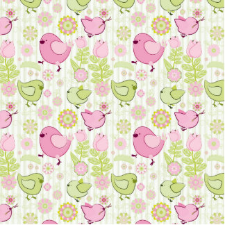 Floral Easter Chicks Cutout