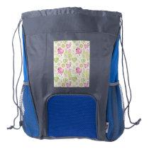 Floral Easter Chicks Drawstring Backpack