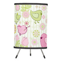 Floral Easter Chicks Tripod Lamp