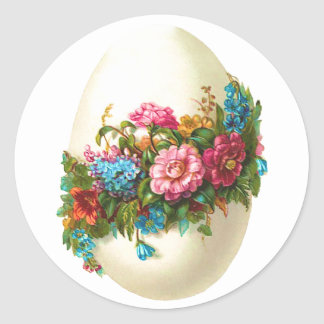 Floral Easter Egg Round Sticker
