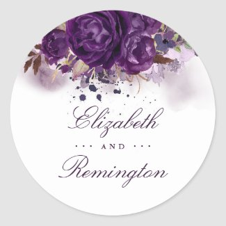 Floral Eggplant Purple Watercolor Wedding Classic Round Sticker