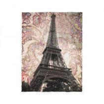 Floral Eiffel Tower Fleece Blanket